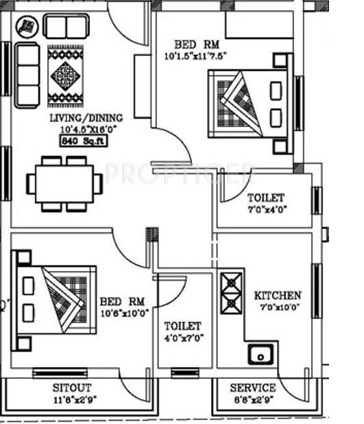 840 sq ft 2 bhk 2t apartment for sale in pranav angels for 840 sq ft house plans