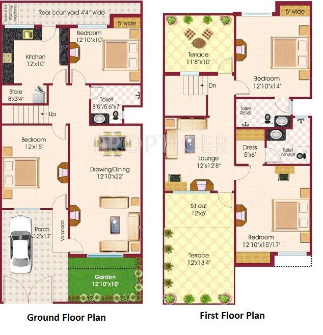 2500 sq ft 4 bhk 4t villa for sale in fortune builders for Builder s pride flooring