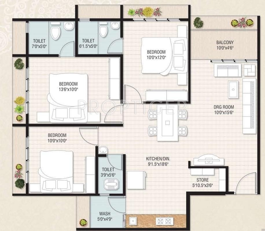 3bhk Floor Plan In 1500 Sq Ft