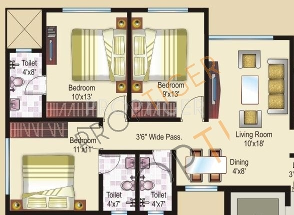 1100 sq ft 3 bhk floor plan image sheth creators athena for 1100 sq ft apartment floor plan