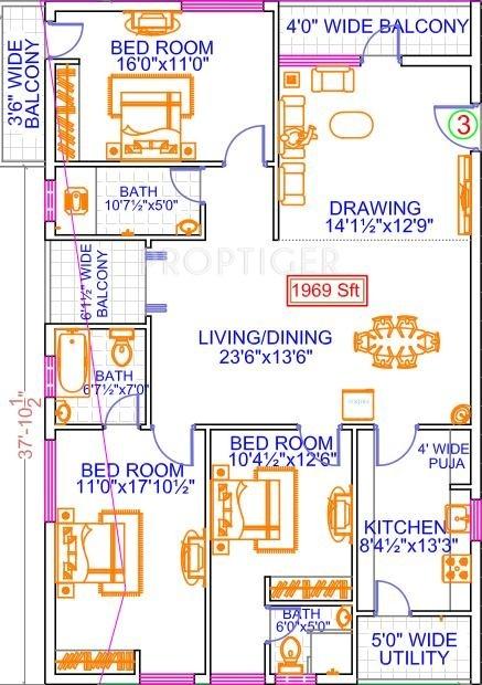 Legend Anthem (3BHK+3T (1,969 sq ft)   Pooja Room 1969 sq ft)