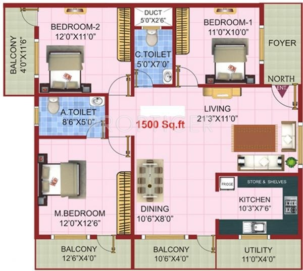1500 sq ft 3 bhk 2t apartment for sale in vajra for 1500 sq ft apartment floor plan