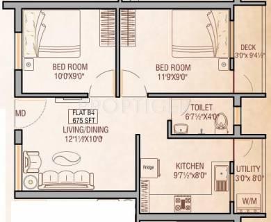 675 sq ft 2 BHK Floor Plan Image - Oyester Homes Buvanam