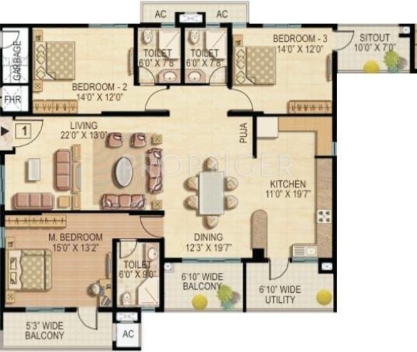 Raheja Quiescent Heights (3BHK+3T (2,325 sq ft) 2325 sq ft)