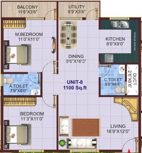 1100 sq ft 2 bhk 2t apartment for sale in shivaganga infra for 1100 sq ft apartment floor plan