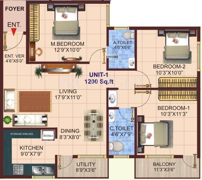1200 sq ft 3 bhk 2t apartment for sale in shivaganga infra for 1200 sq ft modular home price