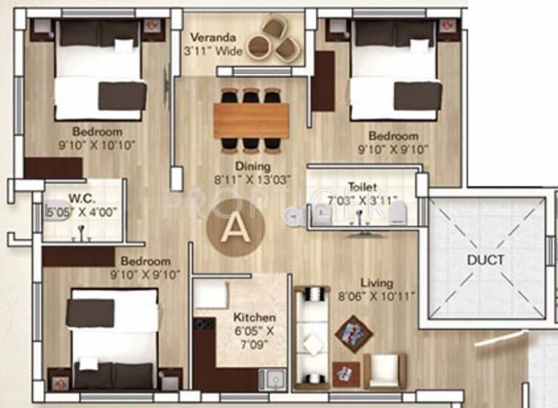 Rupayan Su Casa Twins (3BHK+2T (931 sq ft) 931 sq ft)