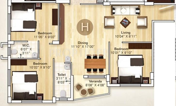 Rupayan Su Casa Twins (3BHK+2T (1,175 sq ft) 1175 sq ft)