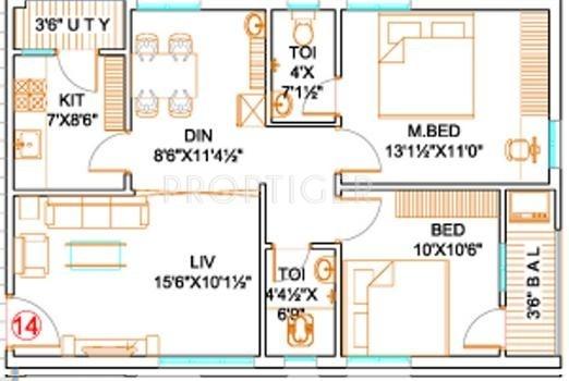 Mk builders and developers mk grand in sheela nagar for 1000 sq ft 2bhk house plans