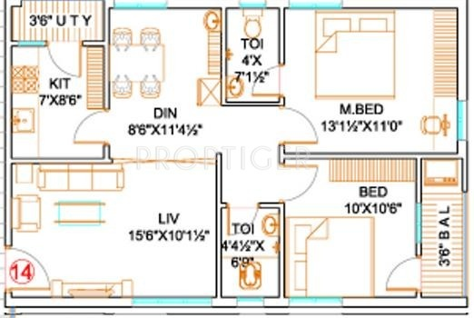 1000 sq ft 2 bhk floor plan image mk builders and for Small house design in kolkata