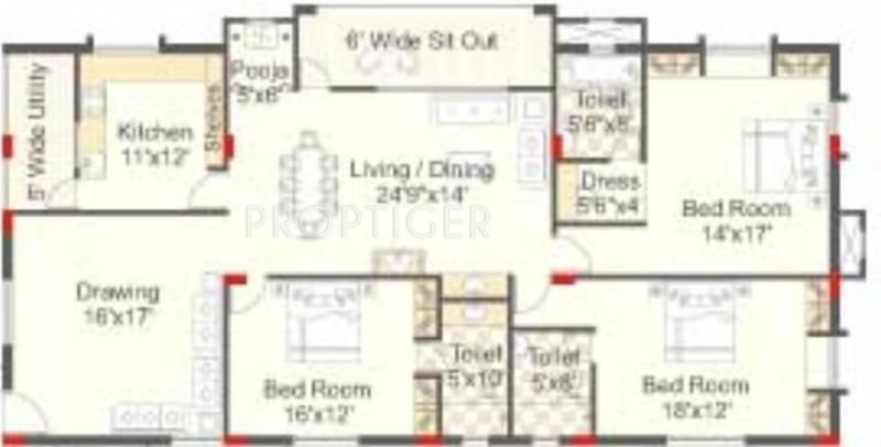 Sri Windsor (3BHK+3T (2,500 sq ft)   Pooja Room 2500 sq ft)
