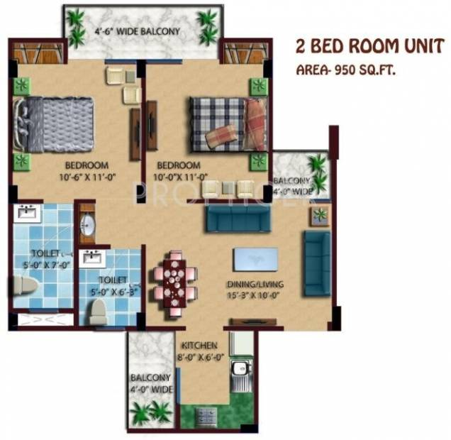 950 sq ft 2 bhk floor plan image proplarity group for 950 sq ft house plans