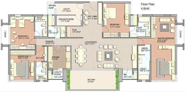 3150 sq ft 4 bhk floor plan image lodha group grandeur for 4 bhk plan layout