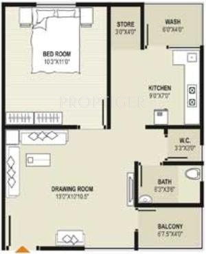 720 Sq Ft Apartment Floor Plan Of 720 Sq Ft 1 Bhk 1t Apartment For Sale In Mahadev Sri Nand