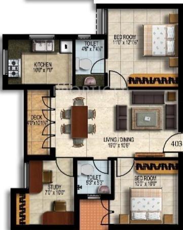 Malles Alankar (2BHK+2T (983 sq ft)   Study Room 983 sq ft)
