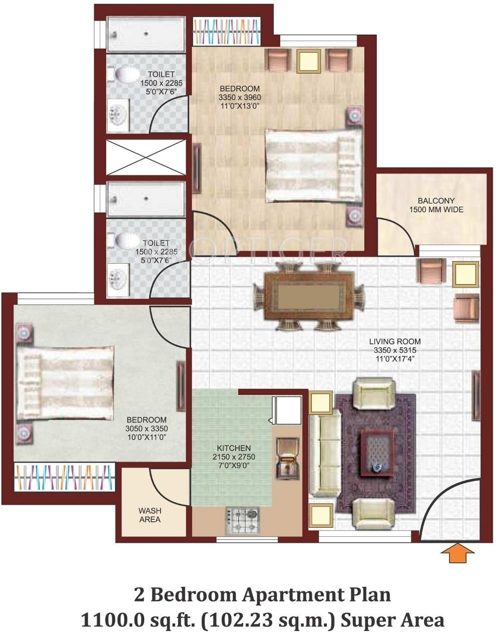 1100 sq ft 2 bhk 2t apartment for sale in nikhil park for 1100 sq ft apartment floor plan