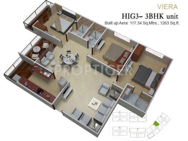 paras housing urbane park floor plan 3bhk 3t 1263 sq ft 346350?width=1336&height=768 paras urbane park by paras housing in kolar road, bhopal price,Paras Homes Floor Plans
