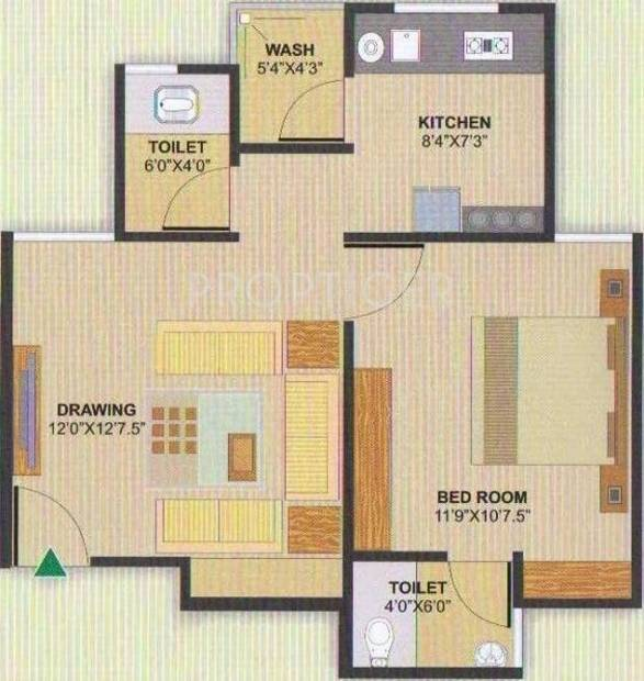 Aman Aman Residency 1 (1BHK+2T (747 sq ft) 747 sq ft)