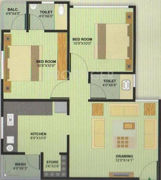 Aman Aman Residency 1 (2BHK+2T (990 sq ft) 990 sq ft)
