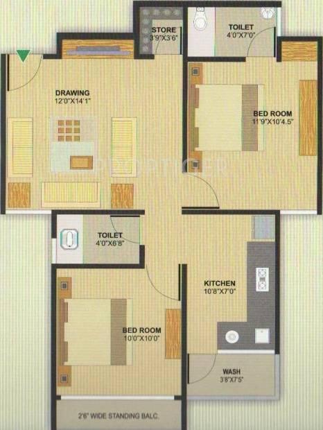 Aman Aman Residency 1 (2BHK+2T (1,035 sq ft) 1035 sq ft)