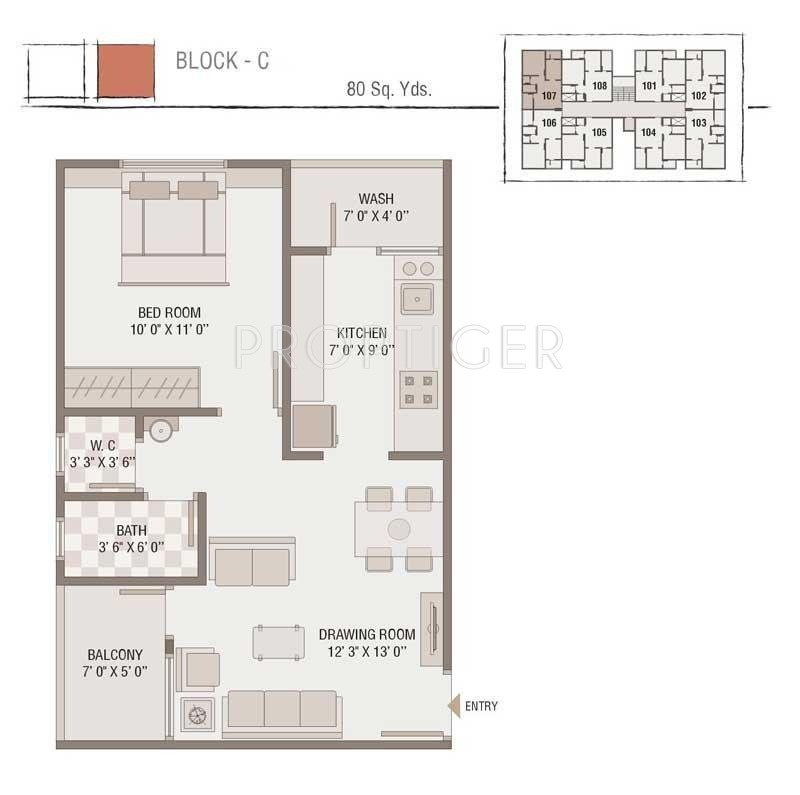 720 sq ft 1 bhk 1t apartment for sale in bhagirath group for Group home floor plans