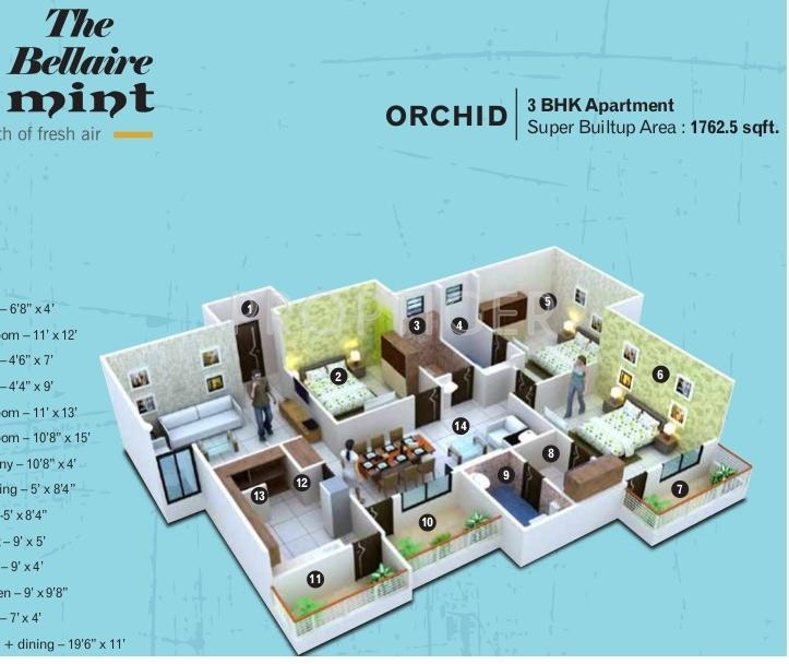 Kamal The Bellaire Mint (3BHK+3T (1,762 sq ft) 1762 sq ft)