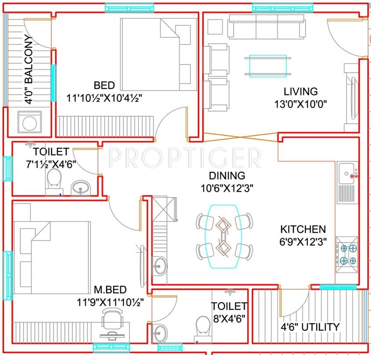 1100 sq ft 2 bhk 2t apartment for sale in vizag profiles for 2 bhk flat drawing