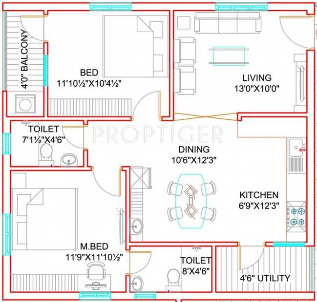 Green City Homes (2BHK+2T (1,100 sq ft) 1100 sq ft)