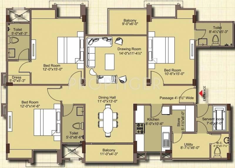 Mahima Nirvana (3BHK+3T (1,625 sq ft) + Servant Room 1625 sq ft)