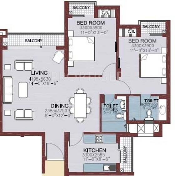 1400 Sq Ft 2 BHK 2T Apartment For Sale In Ansal API
