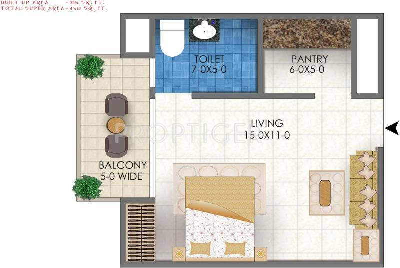 450 Sq Ft 1 Bhk Floor Plan Image Amaroo Greens Studio