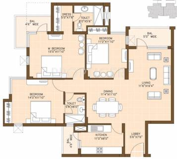 1700 Sq Ft 3 Bhk Floor Plan Image Omaxe Palm Greens Available For Sale Proptiger Com