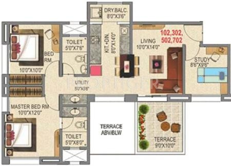 1120 sq ft 3 bhk floor plan image rama group capriccio for 1120 westchester place floor plan