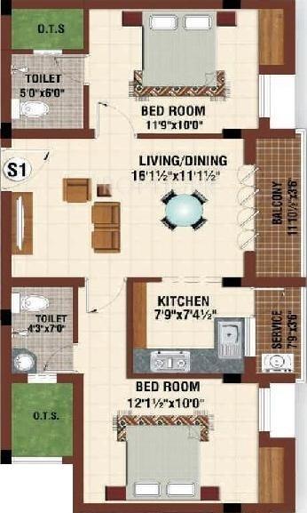 1011 Sq Ft 2 Bhk Floor Plan Image Platinum Homes Platinum