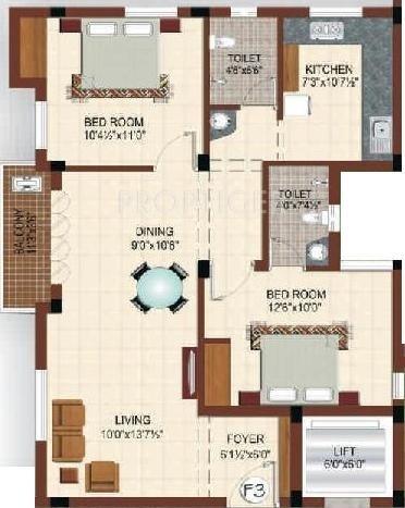 1124 Sq Ft 2 Bhk Floor Plan Image Platinum Homes Platinum