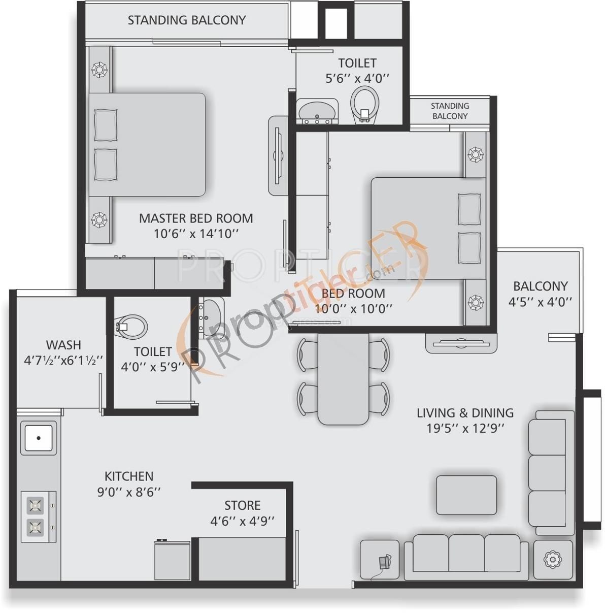 Virat residency in ambivali mumbai price location map for 640 square feet floor plan