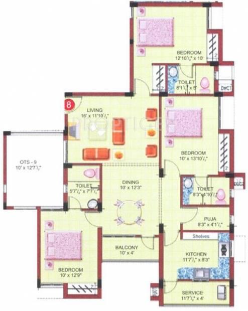 Ramani Lake Garden (3BHK+3T (1,632 sq ft) + Pooja Room 1632 sq ft)