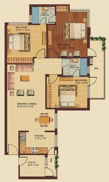 Omaxe Royal Residency (3BHK+2T (1,520 sq ft) 1520 sq ft)
