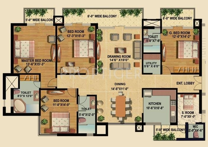 2700 sq ft 4 bhk 4t apartment for sale in omaxe royal for X2 residency floor plan