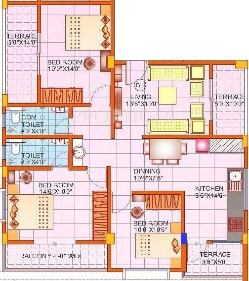 Suraj Royal Classic (3BHK+2T (1,259 sq ft) 1259 sq ft)
