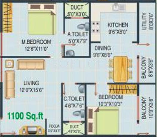 1100 sq ft 2 bhk 2t apartment for sale in lakvin for 1100 sq ft apartment floor plan