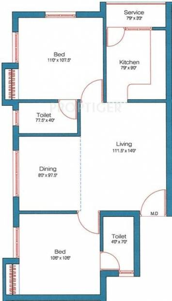 852 sq ft 2 BHK Floor Plan Image - MM Builders New Launch Available