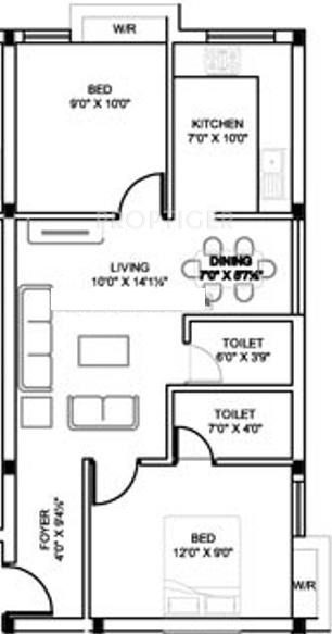 750 sq ft 2 bhk floor plan image mm builders sbi colony for Floor plans 750 square feet