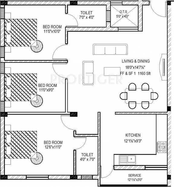 1136 sq ft 3 BHK Floor Plan Image - MM Builders MM Apartments
