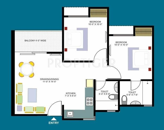 900 sq ft 2 bhk 2t apartment for sale in dasnac designarch for 900 sq ft apartment floor plan