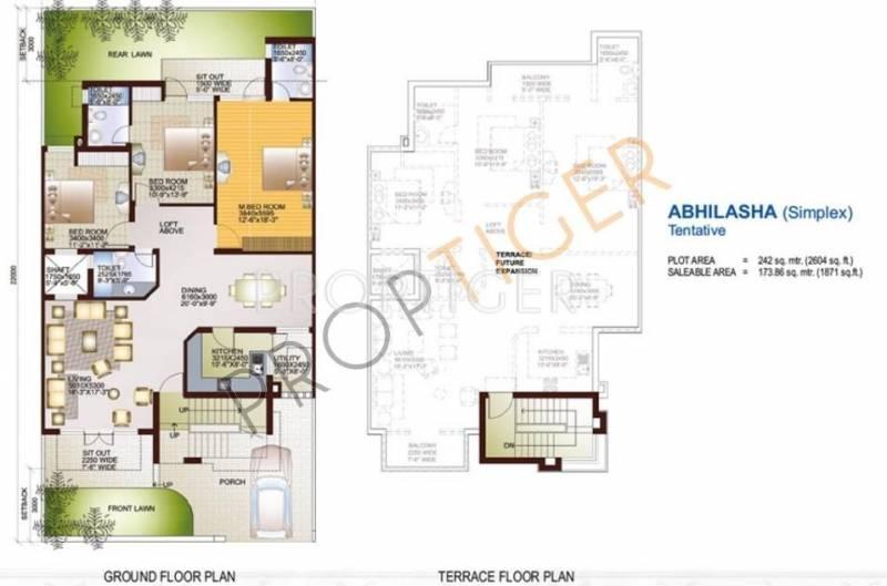 Ansal Sushant Taj City (3BHK+3T (1,871 sq ft) 1871 sq ft)