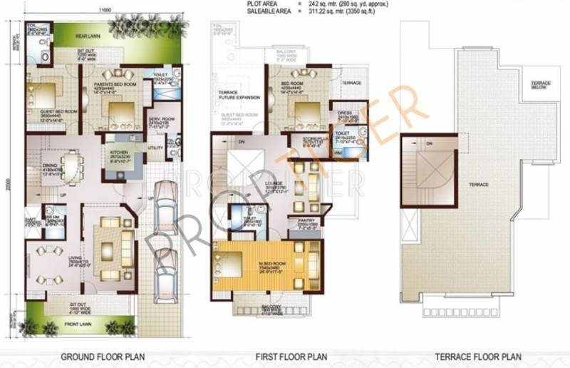 Ansal Sushant Taj City (4BHK+4T (3,350 sq ft) 3350 sq ft)