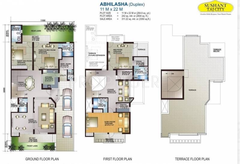 Ansal Sushant Taj City (4BHK+4T (3,350 sq ft) 3350 sq ft)
