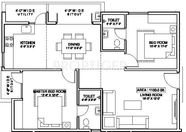 1100 Sq Ft 2 Bhk 2t Apartment For Sale In Aesthetic