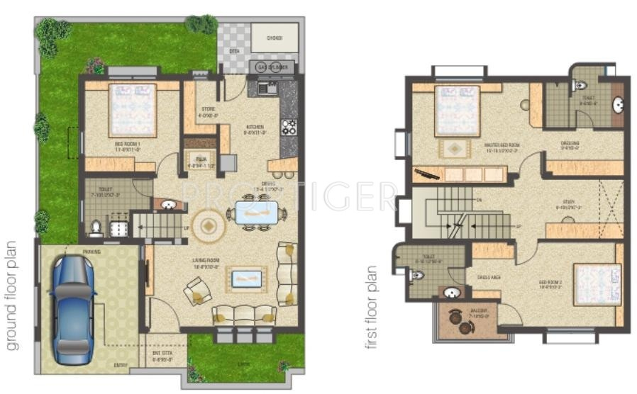 Shreenath shreenath bungalows in gotri road vadodara 3bhk house plan